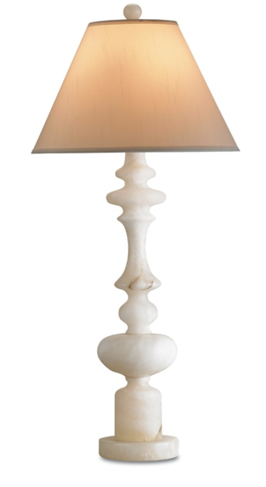 Alabaster Table Lamp w/Silk Shade  17.5x38h  CC6294