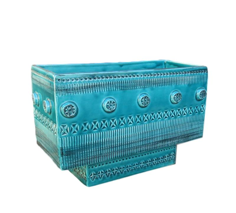 Italian Carved Ceramic Turquoise Low Bowll  12x5.5x8h  GV3.30881