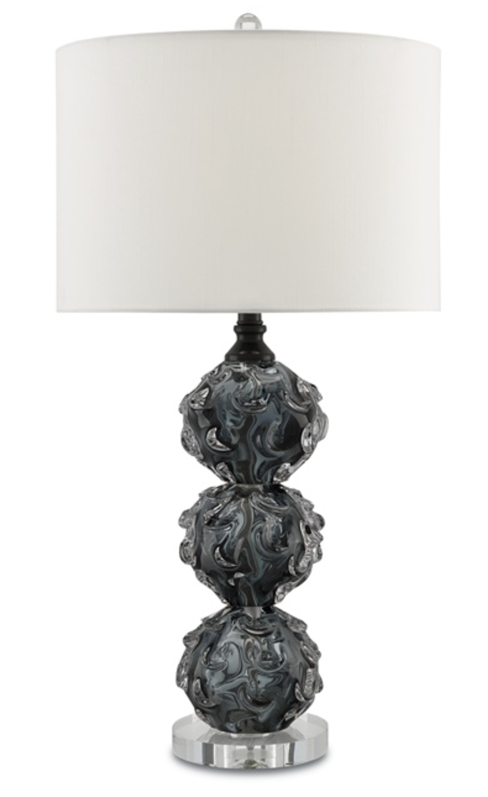 Smoked Grey Glass Spheres/Crystal Table Lamp w/Linen Shade  15.5dx30h  CC60024