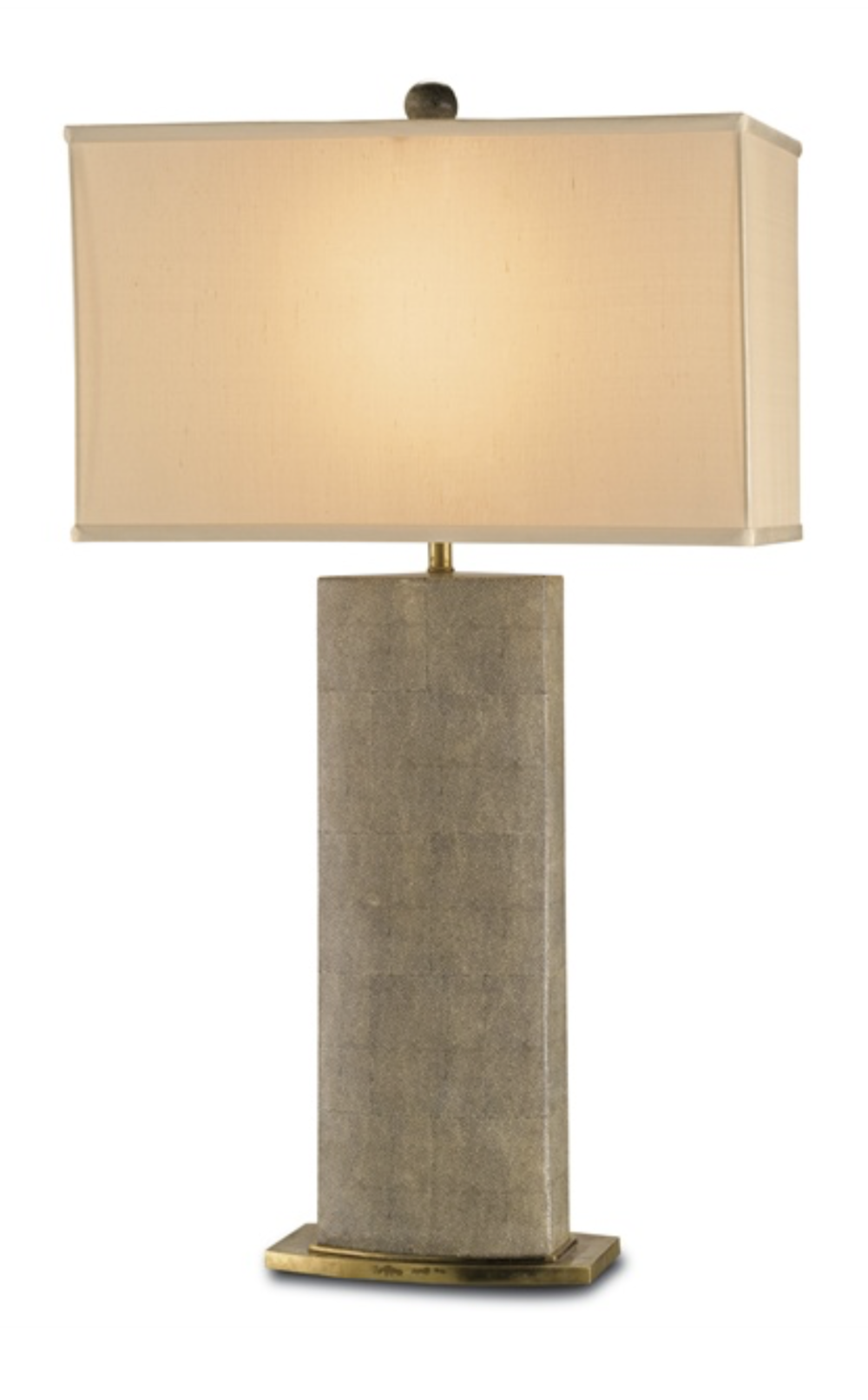 Shagreen Pattern Porcelain/Brass Table Lamp w/Silk Shade  CC6355