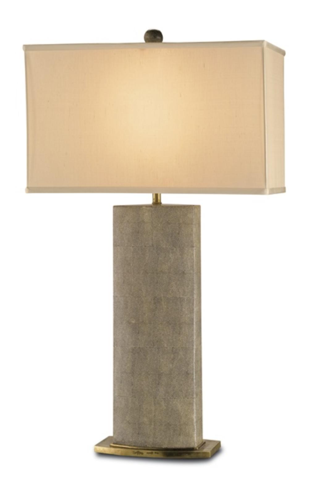 Shagreen Pattern Porcelain/Brass Table Lamp w/Silk Shade  CC6355