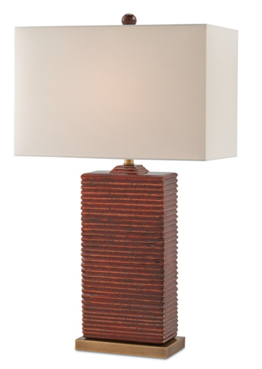 Ribbed Mottled Red Ceramic/Brass Table Lamp w/Linen Shade  18x10x31h  CC6912