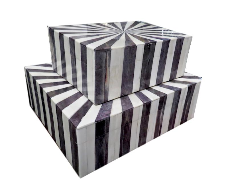 "Starburst Gray and Natural Bone Box  9x7x3.5""h  BIW732M  Starburst Gray and Natural Bone Box  12x10x4""h  BIW732L"