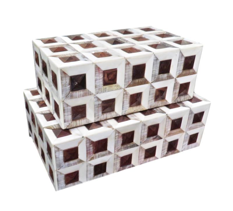 """Small Brown Bone Geo Box  8x8x4""""h  BIW733S  Large Brown Bone Geo Box  10x10x4""""h  BIW733L"""