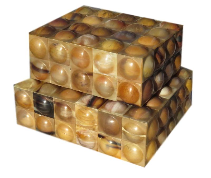 """Small Brown Horn Bubble Box  7.5x6x3""""h  BIJ167S  Large Brown Horn Bubble Box  9x7.75x3.25""""h  BIJ167L"""