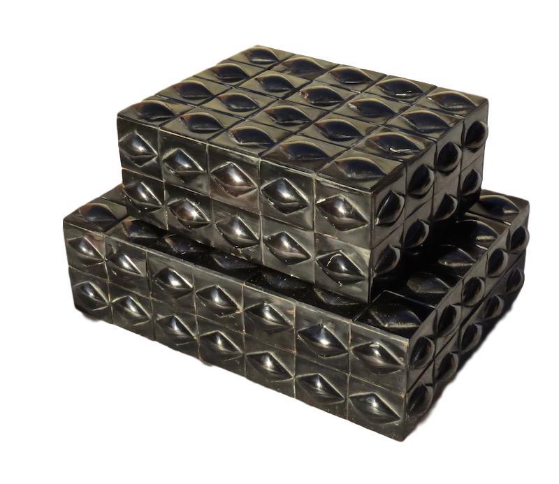 Ebony Horn Diamond Pillow Box  8x6.5x3h  BIJ451S  Ebony Horn Diamond Pillow Box  11x8x3h  BIJ451L