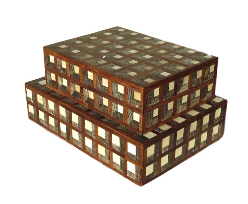 Etched Horn/Walnut/White Resin Squares Box  9.5x7x3h  BIJ168S  12x8.5x3h  BIJ168L