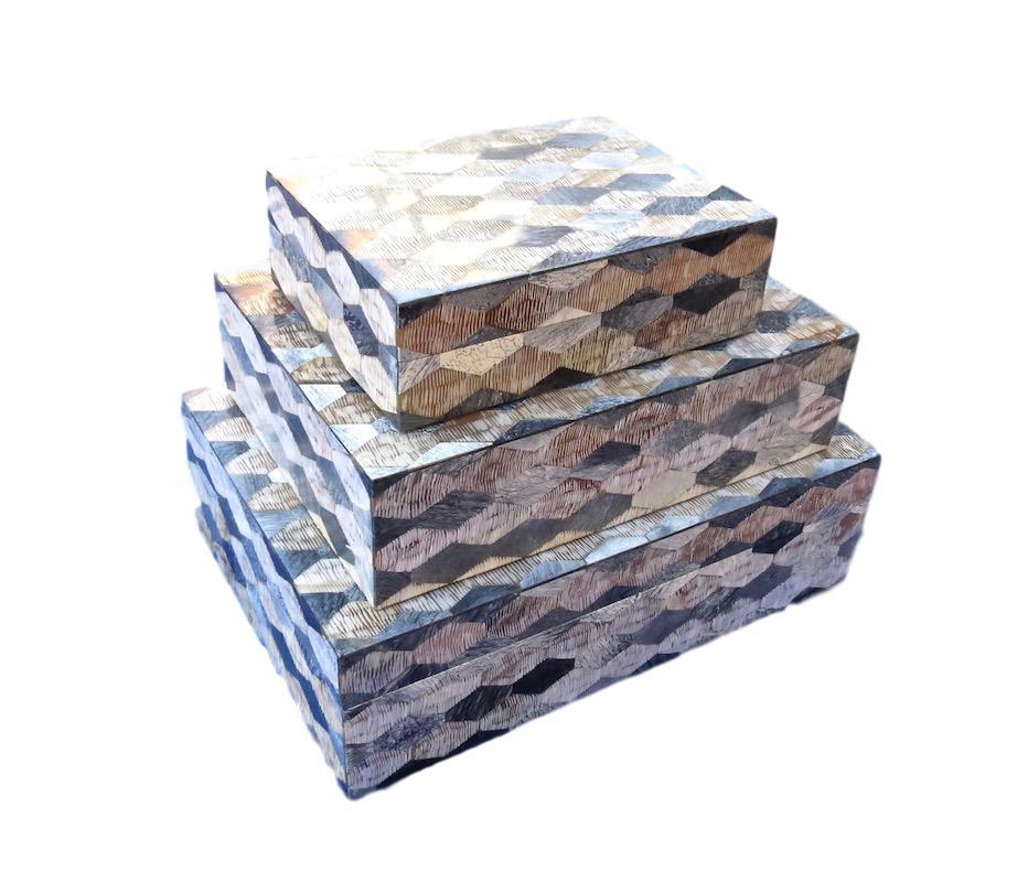 Etched Horn/Grey Resin Diamond Box  8x6x2.5h BIJ417S  11x8x3h BIJ417M  13x9x4h BIJ417L