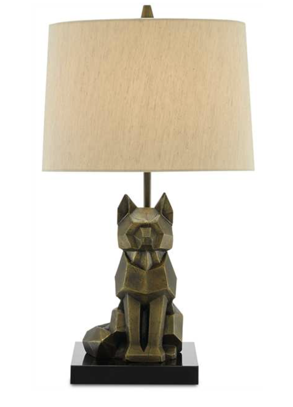 Cubist Wolf Table Lamp w/Poplin Shade  13x13x23h  CC0246