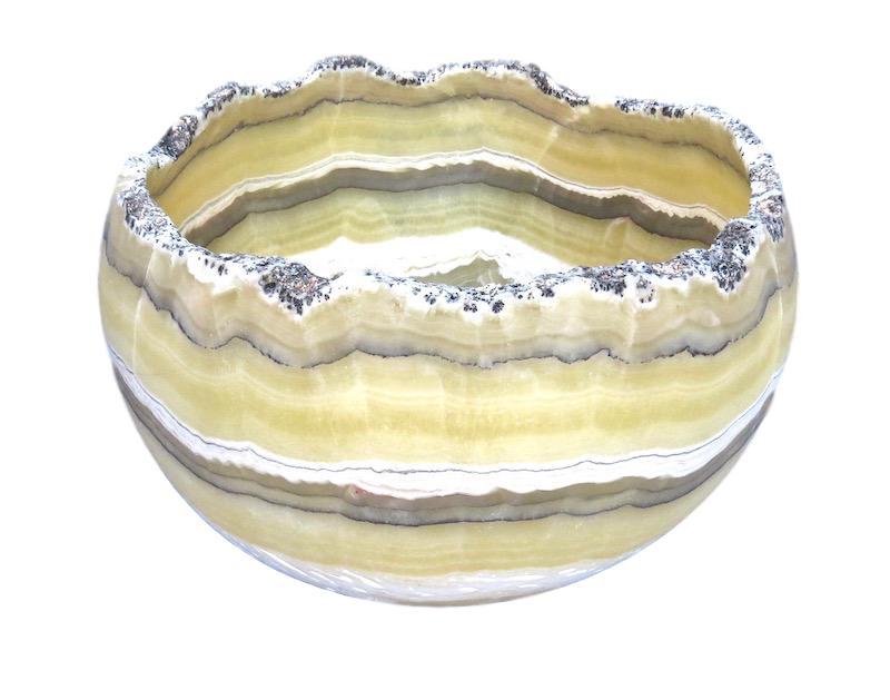 Zebra Onyx Egg Bowl  15dx12h  MX097