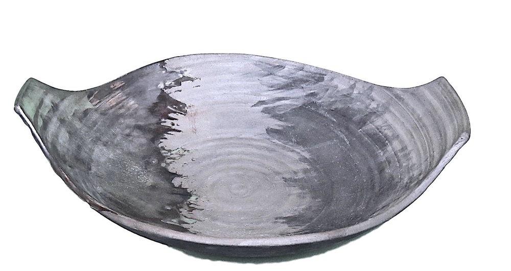 Urban Legend Low Bowl Platinum Glaze  12.75x11x1.75h TA21418.5