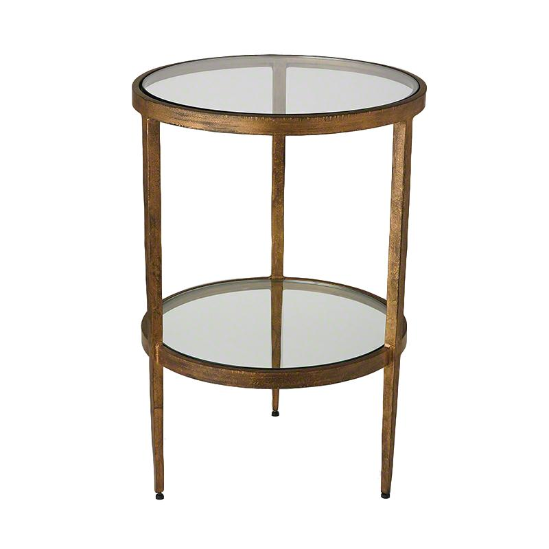 Round Side Table w/2 Glass Shelves, Antique Gold  16dx23.5h   GV7.90277
