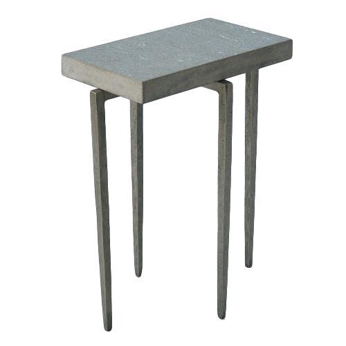 Rectangular Drink Table Iron/Flamed Granite  16x10x20.5h GV7.90858