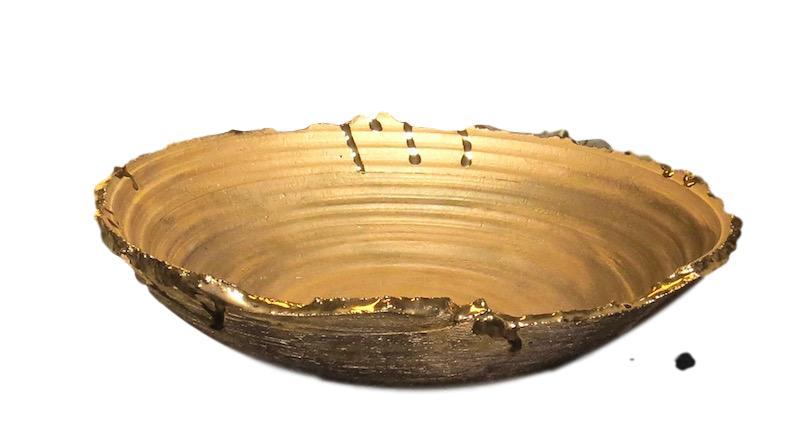 Tatiana, Matte and Shiny23k Gold Glaze Spill Bowl  11.5dx3h TA0619