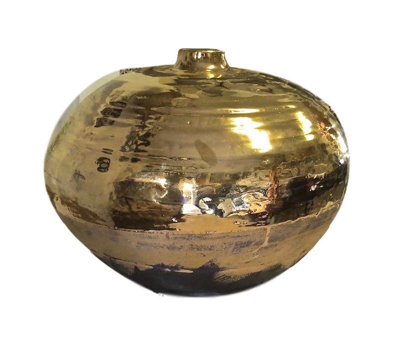 Tatiana, Matte Ebony/23k Gold Glaze Raised Small Mouth Ceramic Vessel  12dx9.5h TA0617