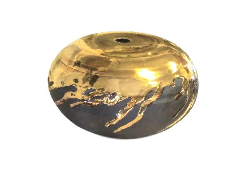 Tatiana, Matte Ebony/23k Gold Glaze Small Mouth Ceramic Vessel  10.5dx6.5h TA0595