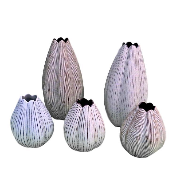 Large Lotus Vase 4.5dx9h - FT16-1283, FT16-1266  Small Lotus Vase 4dx5.5h - FT16-1265, FT16-1267, FT16-1284