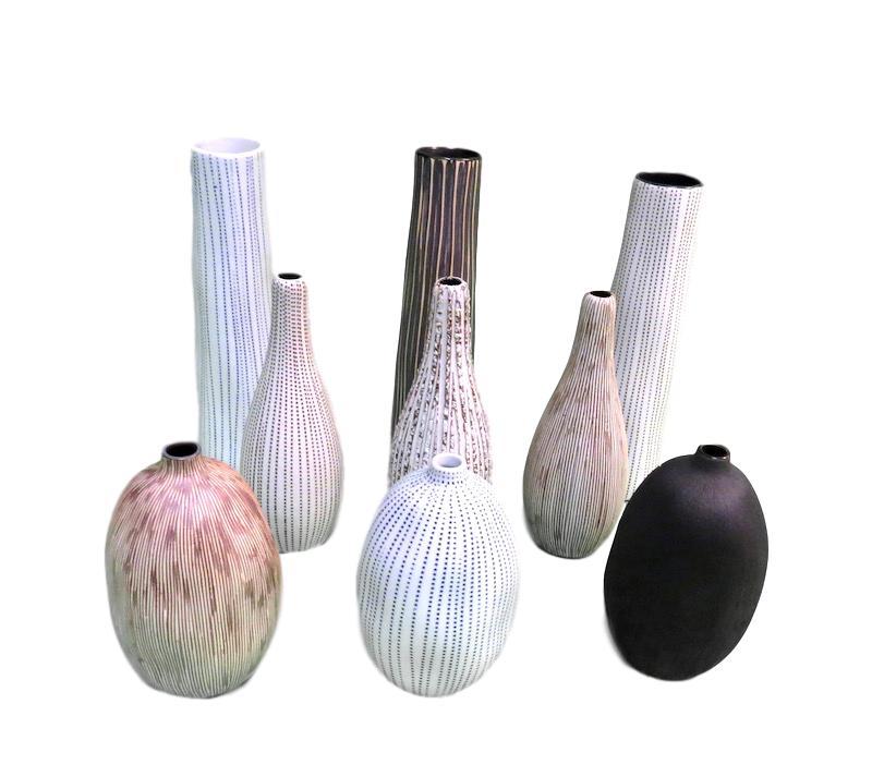 Cylinder Vase 2dx8h - FT16-1260,  FT16-1170,  FT16-1235  Teardrop Vase 2dx6h - FT16-036, FT16-WO16, FT16-1010  Small Mouth Vase 3dx5h  - FT16-1414, FT16-WO26, FT25-508