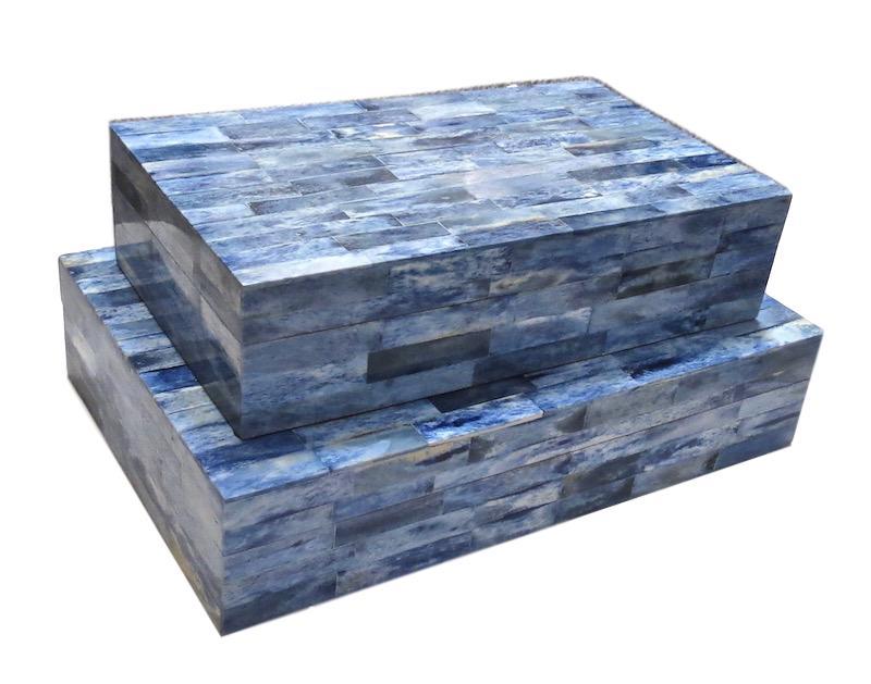 Blue Bone Box   14x9x3h   BIJ639  12x7x3h   BIJ639S
