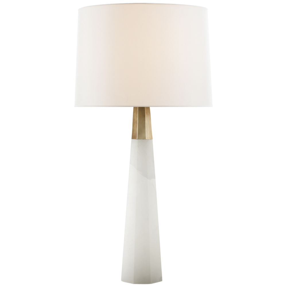 Olsen Table Lamp, Alabaser/Hand Rubbed Antique Brass w/Linen Shade   16dx34h   VCARN3026ALB-L