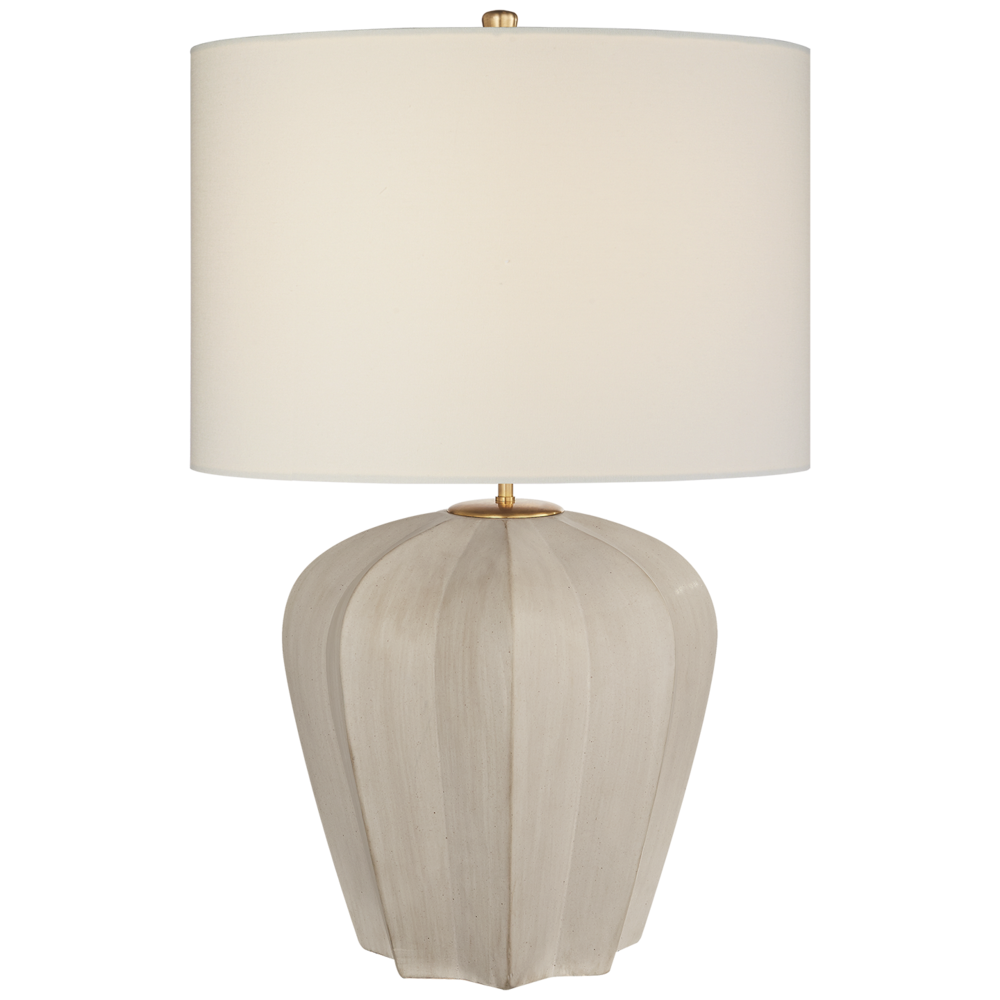 Pierpoint Table Lamp Stone White Medium, Linen Shade  21dx30h    VCARN3611STWL
