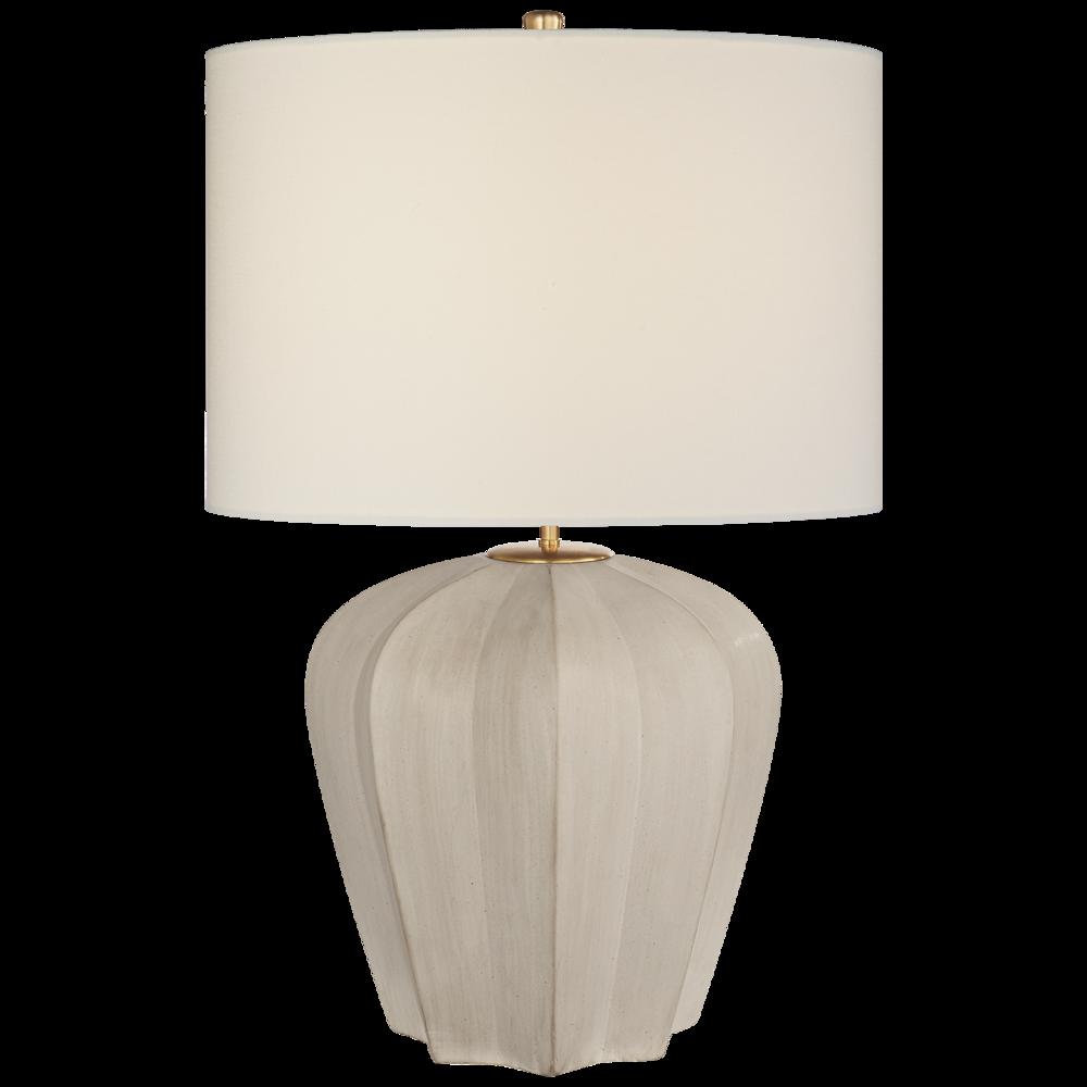 Pierpoint Table Lamp Stone White Medium, Linen Shade  21dx30h    VCARN3611STWL