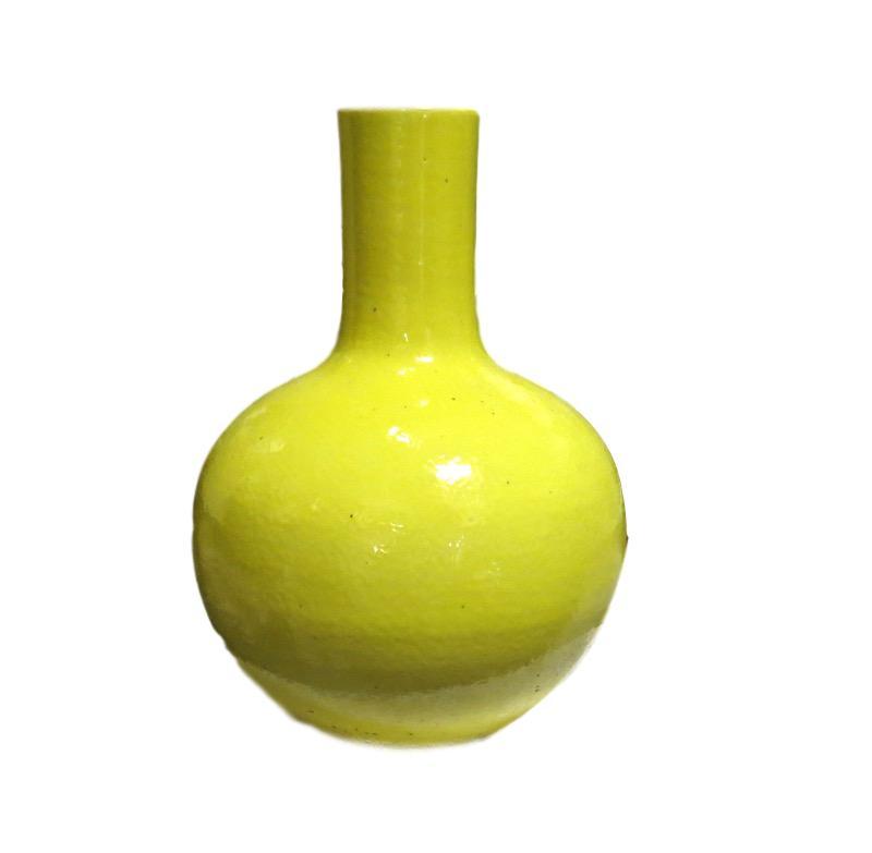 Yellow Ceramic Lollipop Vase   9dx14h +/-  MI12083