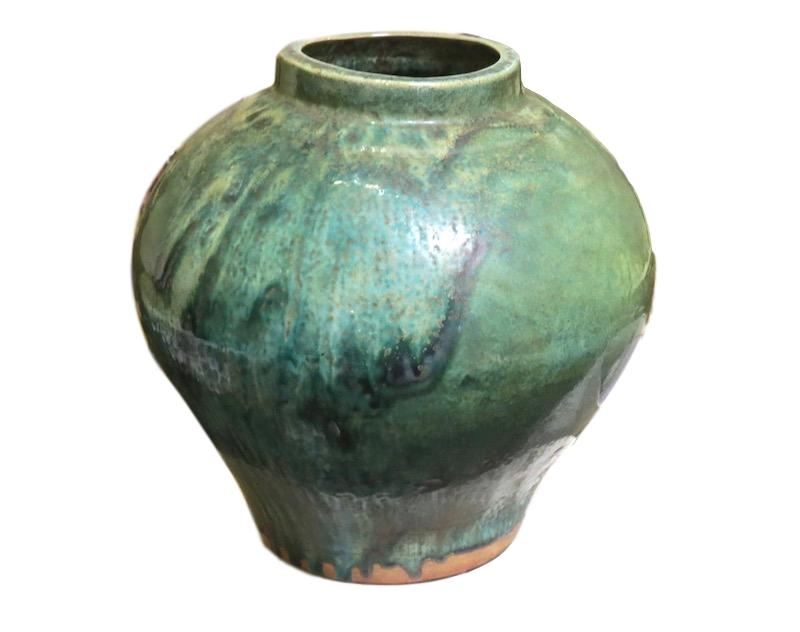 Mottled Green Ceramic Jar   13dx14h +/-  MI16164
