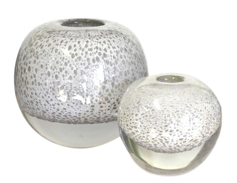 Glass Ball Bubbles Vase, White   Small 5.3dx5.3h  EU1471051  Large 8dx8h  EU1471116