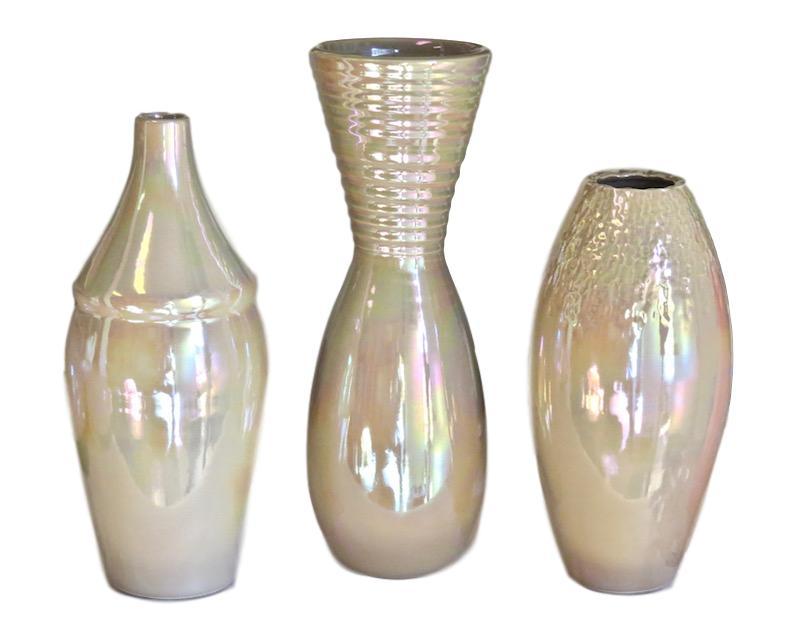Ceramic Alabama Vase 5dx12.5h Macchiato EUHV141M  Ceramic California Vase, 5dx14h Macchiato EUHV143M  Ceramic Nevada Vase 5dx11h Macchiato EUHV142M