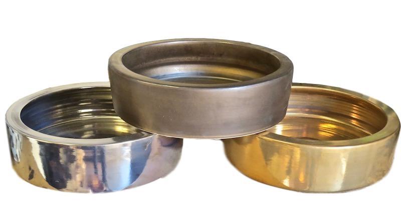 Ceramic Low Bowl Small  12dx3.5h   Platinum EUHS1101E,  Bronze  EUHS1101B,  24k Gold Glaze EUHS1101G