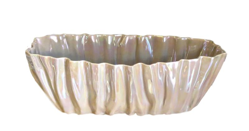 Fluted Ceramic Planter   16x7x8h   Macchiato EU146022M