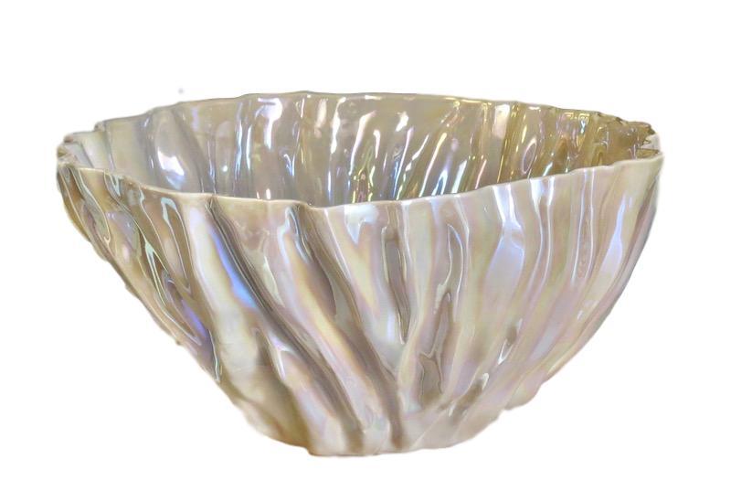 Fluted Ceramic Bowl  17dx8h  Macchiato EU14044M