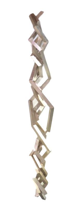 Sergio lopomo, Wall Sculpture, Wood/Metal Leaf, Silver    11x11x72h  RLS253S