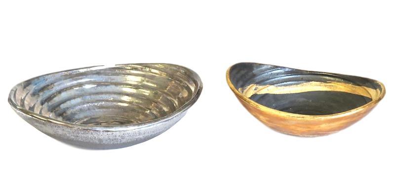 Tatiana, Small Oval Bowl   9x7x3h Black/Platinum TA0173  8x7x3h Black/24k Gold Glaze TA0170