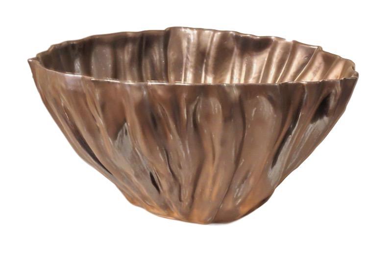 Fluted Ceramic Bowl, Bronze  17dx8h  EU14044B