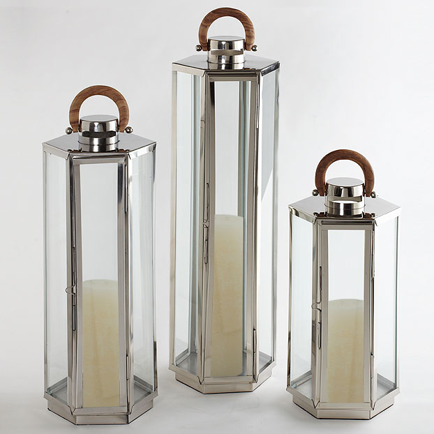 Dockside Lantern, Stainless, Polished Nickel,   10dx20h  CT817912  10dx32h  CT817914