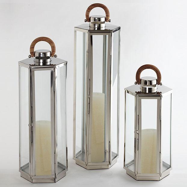 Dockside Lantern, Stainless, Polished Nickel,   10dx20h  CT817912  10dx32h  CT817914