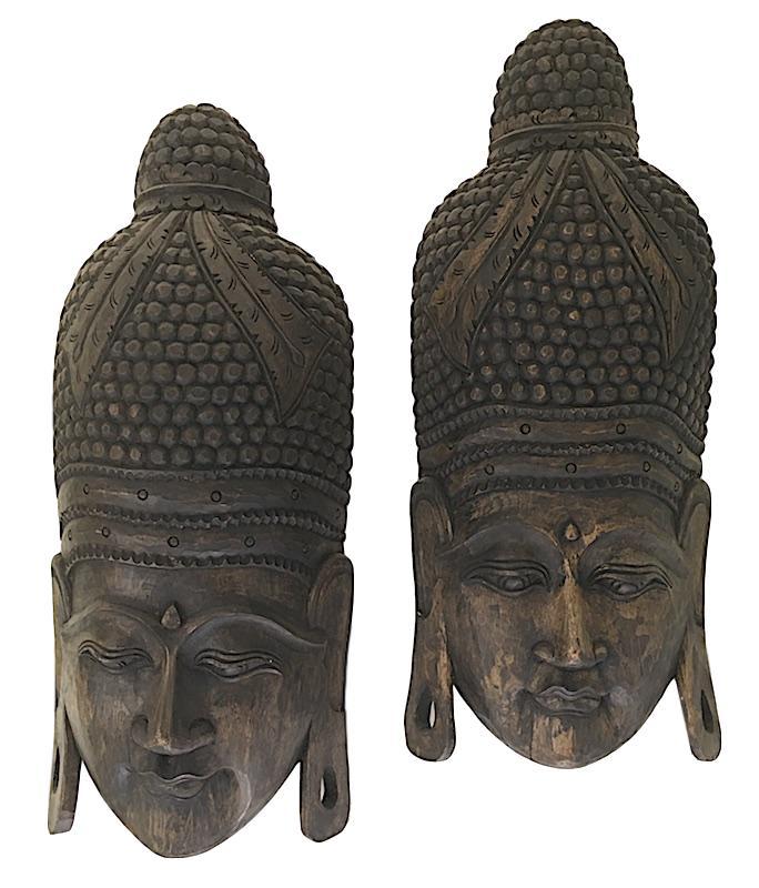 Carved Buddha face, Indonesia   12x8x35h +/-  QI110  8x4x15h  QI111