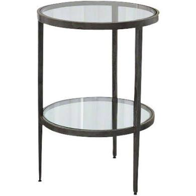 Two Tiered Side Table, Iron/Braised Brass  16dx23.5h  GV7.90278