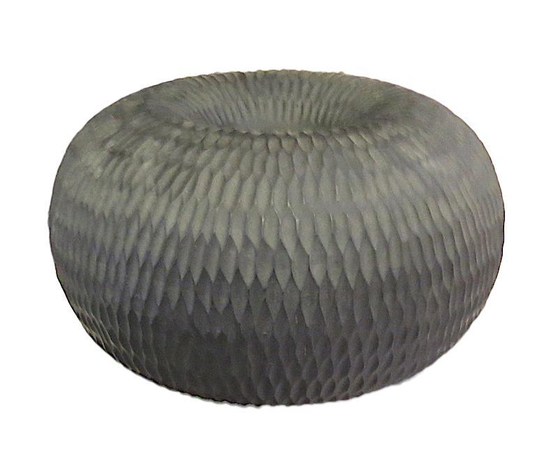 Mango Wood Chiseled Bagel Vase   14dx8h  BUMANBGL