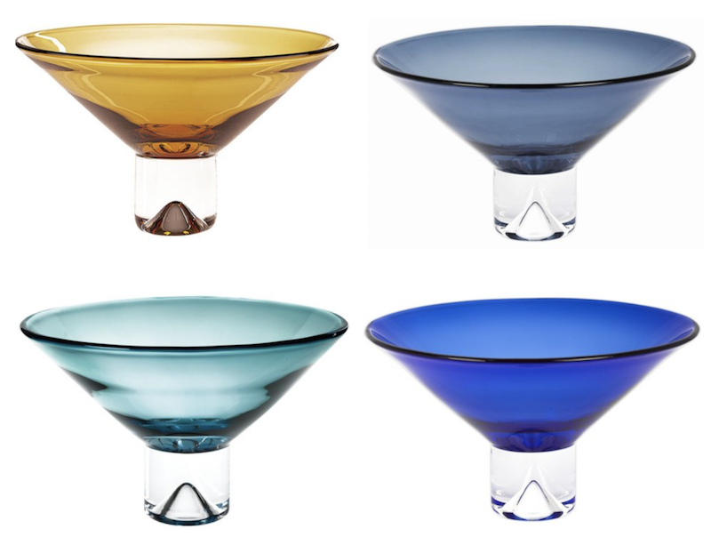 Monaco Pedestal Glass Bowl 12dx7h  Amber BRK888, Midnight Blue BRK893, Peacock BRK890, Cobalt BRK892