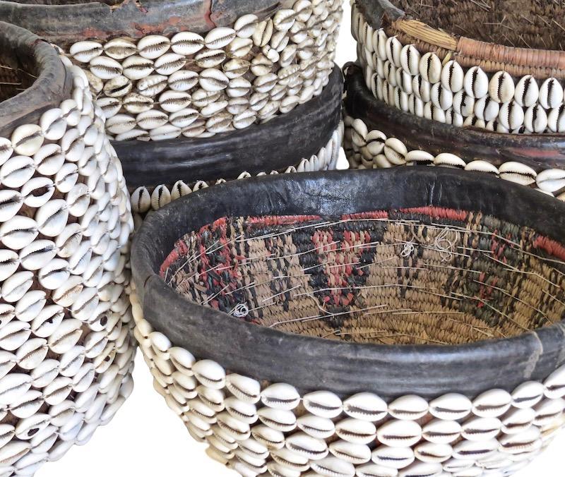 """Vintage Shell/Leather Basket, Nigeria   10-11""""dx5-7h  AF021"""