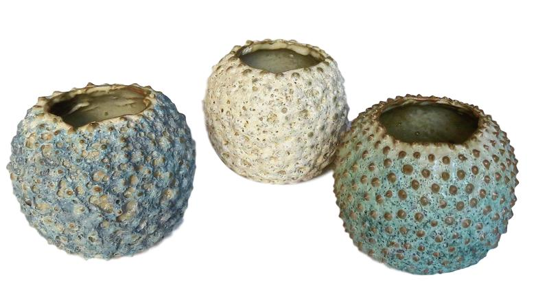 Ceramic Puffer Pot 5dx4.5h +/-   Blue FTSR100B, Sand FTSR100S, Green FTSR100G