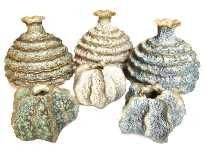 Ceramic Ruffle Top Vase Large   6dx6h +/-   Green FTSR114G, Natural FTSR114S, Blue FTSR114B  Ceramic Short Luffa Vase 3dx2.5h   Green FTSR119G, Natural FTSR119S, Blue FTSR119B