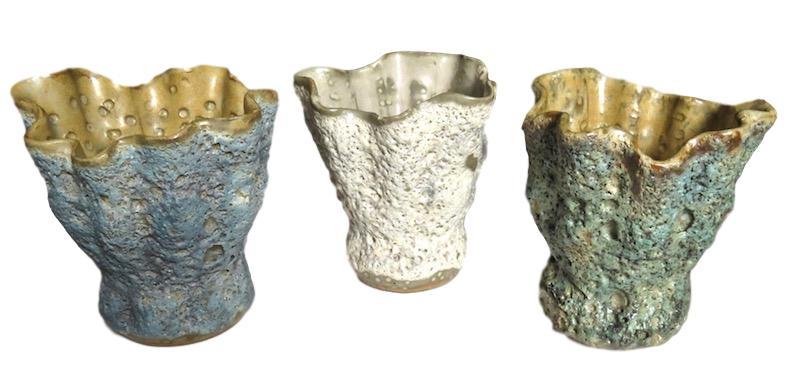 Ceramic Thoja Vase Small   5dx5h +/-   Blue FTSR242SB, Natural FTSR242SS, Green FTSR242SG