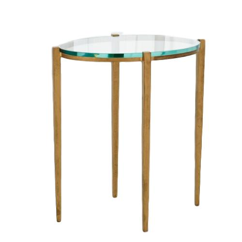 Oval Iron/Glass Side Table Antique Gold  18x12x20h  GV7.90764