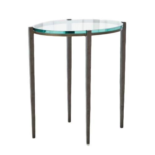 Oval Iron/Glass Side Table Natural  18x12x20h  GV7.90765