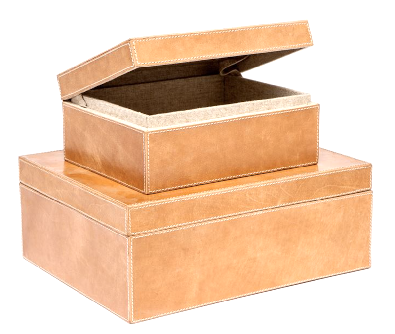 Large Leather Box, Camel  9x7x4h   MGDANBXS  13x10x5h   MGDANBXL