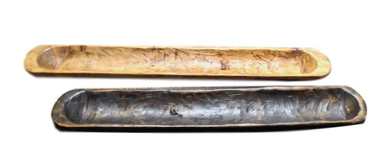 Long Narrow Rectangular Carved Wood Bowl / Tray  36x6x3h  FG008